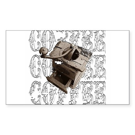 Coffee Grinder - White - Rectangle Sticker