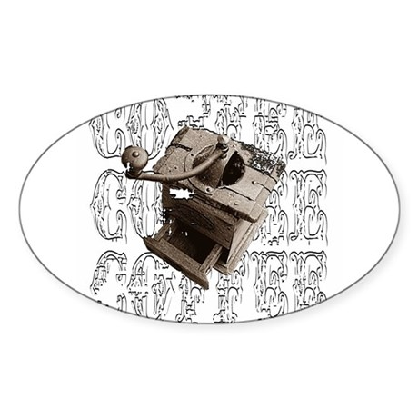 Coffee Grinder - White - Oval Sticker