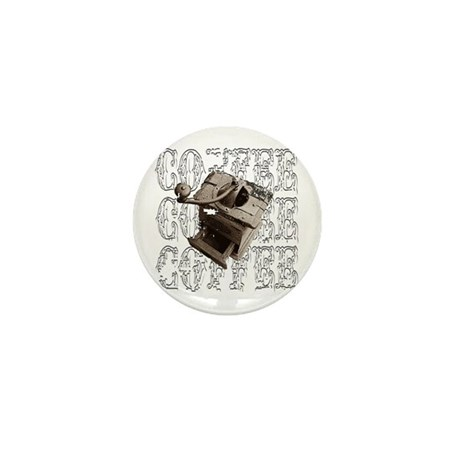 Coffee Grinder - White - Mini Button (100 pack)