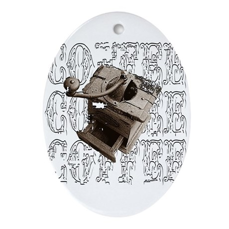 Coffee Grinder - White - Oval Ornament