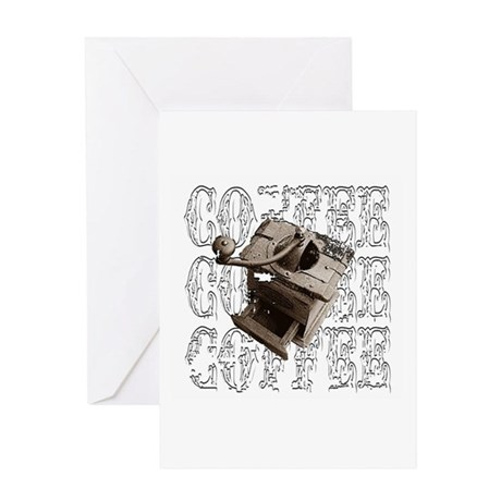 Coffee Grinder - White - Greeting Card