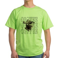 Coffee Grinder - White - Green T-Shirt