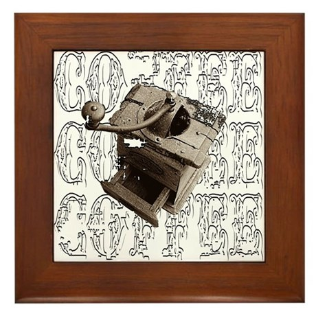 Coffee Grinder - White - Framed Tile