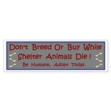 'Don't Breed Or Buy' Bumper Car Sticker