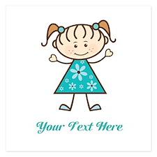 Teal Stick Figure Girl 5.25 x 5.25 Flat Cards
