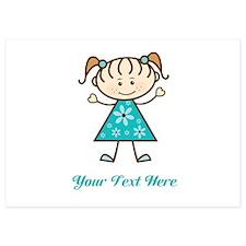 Teal Stick Figure Girl Invitations