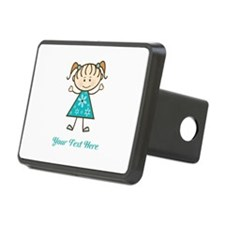 Teal Stick Figure Girl Hitch Cover
