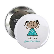 """Teal Stick Figure Ethnic Girl 2.25"""" Button (10 pac"""