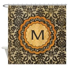 Antique Gothic Damask Monogram Shower Curtain