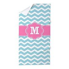 Blue Pink Chevron Monogram Beach Towel