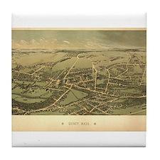 Antique US Maps Quincy, MA 18 Tile Coaster