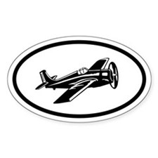 Flying Plane Oval Stickers