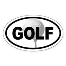 Golf Ball on Tee Oval Decal