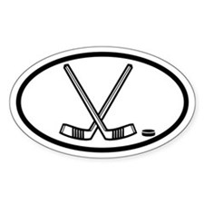 Hockey Sticks and Puck Oval Decal