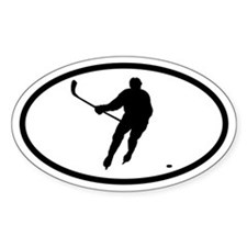 Hockey Player Oval Stickers