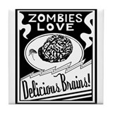 Zombies / Delicious Brains Tile Coaster