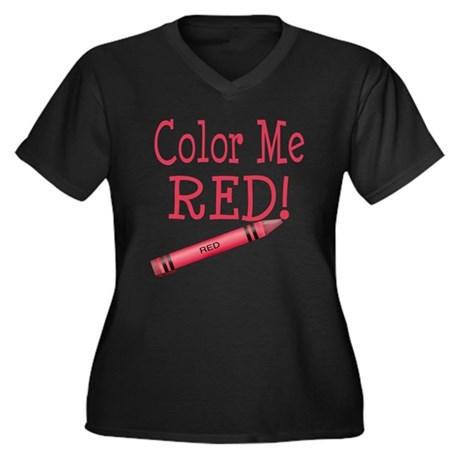 Color Me Red! Women's Plus Size V-Neck Dark T-Shir