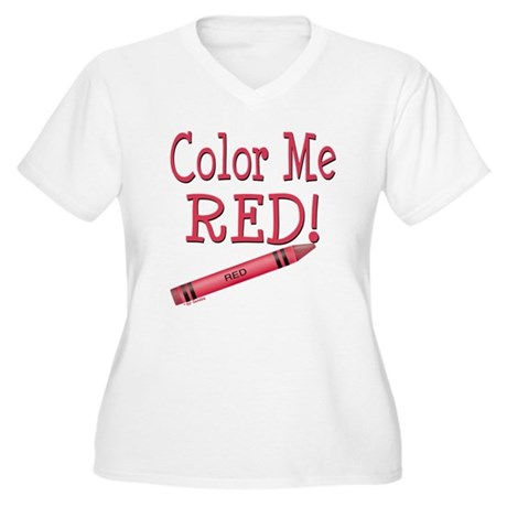 Color Me Red! Women's Plus Size V-Neck T-Shirt