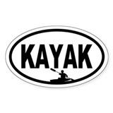 Kayaker Oval Bumper Stickers