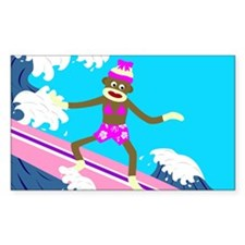 Sock Monkey Surfer Girl Rectangle Decal
