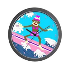 Sock Monkey Surfer Girl Wall Clock