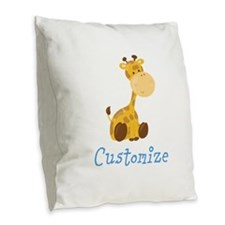 Baby Giraffe Burlap Throw Pillow