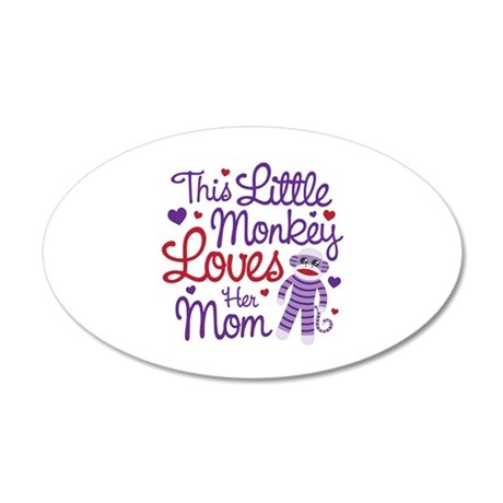 Monkey Loves Mom 20x12 Oval Wall Decal