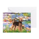 Lilies#2 & Airedale (S) Greeting Card