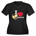 I Love Beethoven Women's Plus Size V-Neck Dark Tee