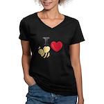 I Love Beethoven Women's V-Neck Grey T-Shirt