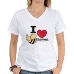 I Love Beethoven Women's V-Neck T-Shirt