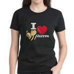 I Love Beethoven Women's Black T-Shirt