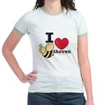 I Love Beethoven Pink Jr. Ringer T-Shirt