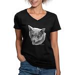 Russian Blue Cat Women's V-Neck Dark T-Shirt