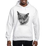 Russian Blue Cat Hooded Sweatshirt