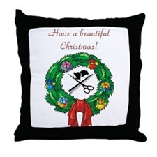 Beautician Christmas Throw Pillow