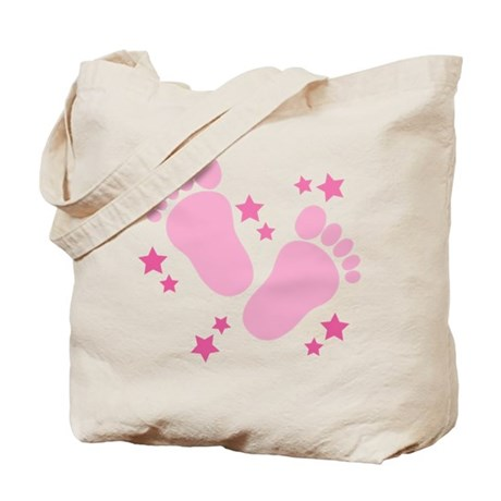 Pink Footprints Baby Tote Bag