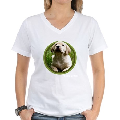 Yellow Lab Puppy Women's V-Neck T-Shirt