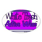 White Trash Active Wear Oval Sticker