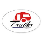 Trailer Red Streamline Oval Sticker