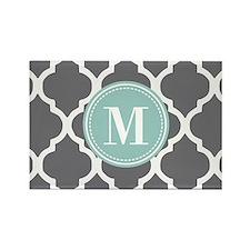 Gray Mint Quatrefoil Monogram Rectangle Magnet