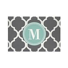 Gray Mint Quatrefoil M Rectangle Magnet (100 pack)