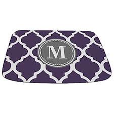 Purple & Gray Quatrefoil Monogram Bathmat