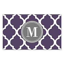 Purple & Gray Quatrefoil Monog Decal