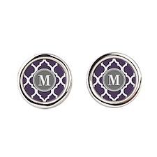 Purple & Gray Quatrefoil Monogram Round Cufflinks