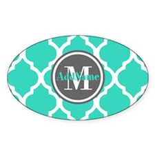 Teal Gray Quatrefoil Pattern Decal