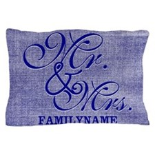 Blue Linen Personalized Mr. and Mrs. Pillow Case