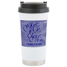 Blue Linen Personalized Travel Mug