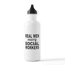 Real Men Marry Social Workers Water Bottle