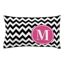 Black White Chevron Bright Pink Monogr Pillow Case